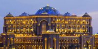 A view of the exterior of the Emirates Palace Hotel in Abu Dhabi, United Arab Emirates, Wednesday, February 8, 2006. Photographer: Charles Crowell/Bloomberg News